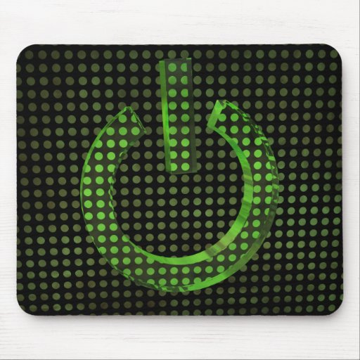 Green ON symbol Mouse Pad