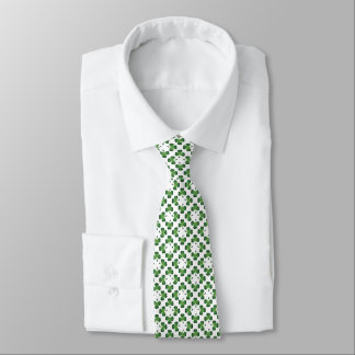 Green on White Lucky Shamrock Clover Design Neck Tie