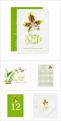Green Oncidium orchid wedding