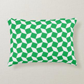 Green Op Art Pattern Accent Pillow