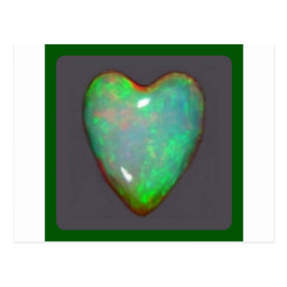 GREEN OPAL HEART OCTOBER BIRTHSTONE BY SHARLES POSTCARD