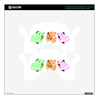 Green orange a pink pop art guinea pig trio decal for PS3 controller