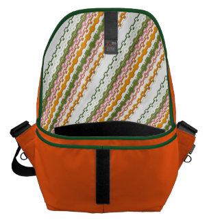 Green, orange and retro striped messenger bag Vol.