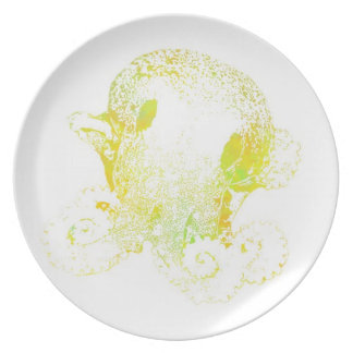 green orange and yellow octopus plate
