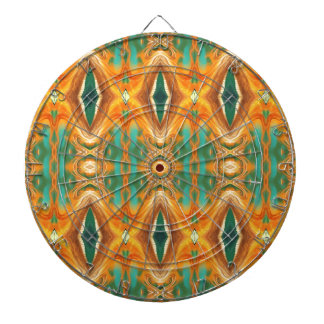 Green Orange Artistic Abstract Pattern Dartboard With Darts