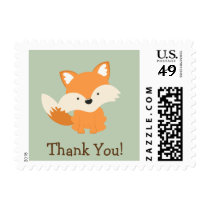 Green & Orange Baby Fox Thank You Postage