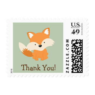 Green & Orange Baby Fox Thank You Postage