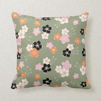Green orange black hawaiian flowers exotic pattern pillow