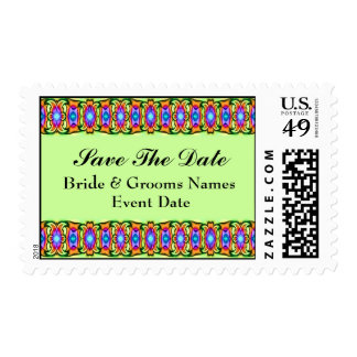 green orange blue save the date postage