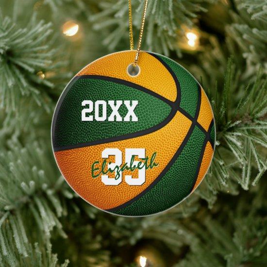 green orange boys girls keepsake basketball ceramic ornament
