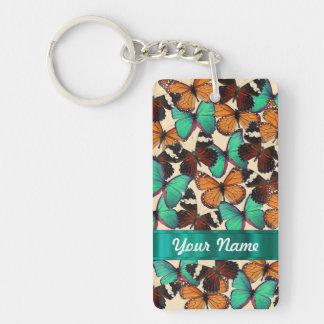 Green & orange butterflies keychain