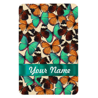 Green & orange butterflies magnet