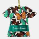 Green & orange butterflies ornament