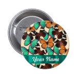 Green & orange butterflies pinback button