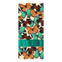 Green & orange butterflies rack card