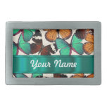 Green & orange butterflies rectangular belt buckle
