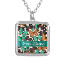 Green & orange butterflies silver plated necklace