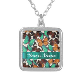 Green & orange butterflies square pendant necklace