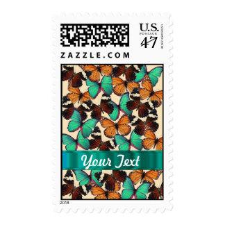 Green & orange butterflies stamp