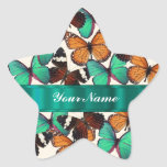 Green & orange butterflies star sticker