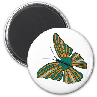 Green orange butterfly animation illustration 2 inch round magnet