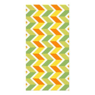 Green Orange Chevron Pattern Zig Zag Design Art Card