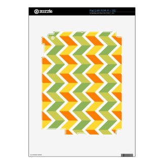 Green Orange Chevron Pattern Zig Zag Design Art iPad 2 Decals