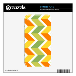 Green Orange Chevron Pattern Zig Zag Design Art iPhone 4S Skin