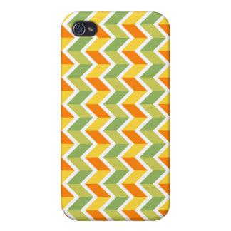Green Orange Chevron Pattern Zig Zag Design Art Cover For iPhone 4