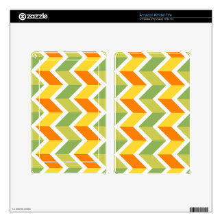 Green Orange Chevron Pattern Zig Zag Design Art Kindle Fire Decals