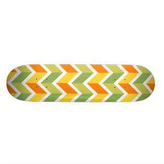 Green Orange Chevron Pattern Zig Zag Design Art Skateboard