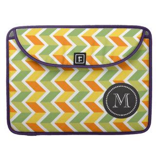 Green Orange Chevron Pattern Zig Zag Design Art Sleeve For MacBook Pro