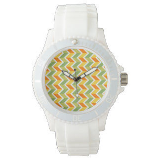 Green Orange Chevron Pattern Zig Zag Design Art Watch