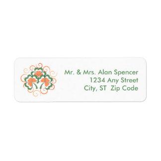 Green Orange Clover Swirl St. Patrick's Day Label