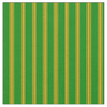 [ Thumbnail: Green & Orange Colored Lined/Striped Pattern Fabric ]