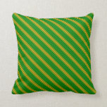 [ Thumbnail: Green & Orange Colored Lined/Striped Pattern Throw Pillow ]