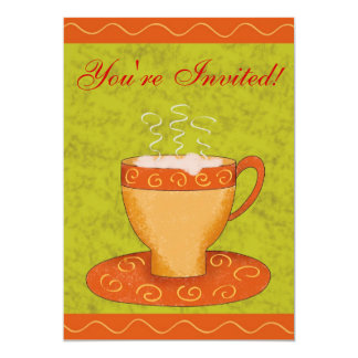 "Green & Orange Cup Customized Coffee Event 5"" X 7"" Invitation Card"
