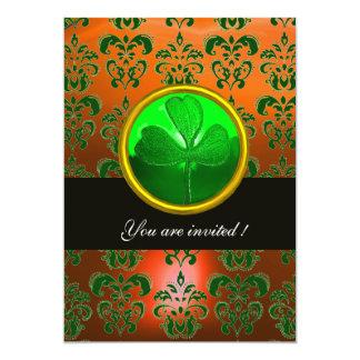 GREEN  ORANGE DAMASK WITH SHAMROCK ,black 5x7 Paper Invitation Card