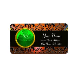 GREEN ORANGE DAMASK WITH SHAMROCK ,black Address Label