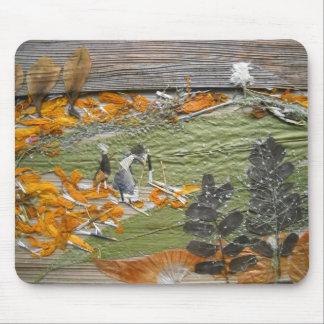 Green Orange fields Mouse Pad