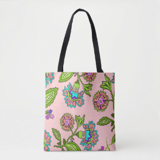 Green/orange floral jacobian tote