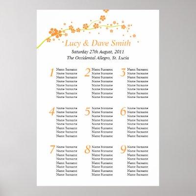 Green Orange Flower Wedding Table Seating Plan Posters by honey moon