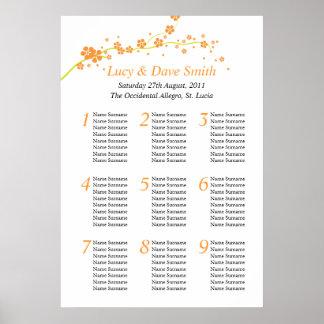 Green & Orange Flower Wedding Table Seating Plan Poster