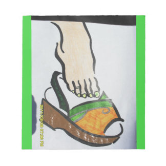 green/orange foot in sandal notepad