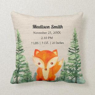 Green Orange Fox Woodland Animal Baby Birth Stats Throw Pillow