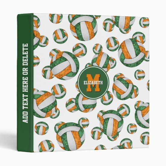 green orange girls team colors volleyball pattern 3 ring binder