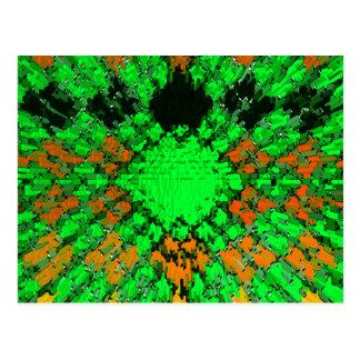 Green Orange Modern Diamond Urban Pattern Design Postcard