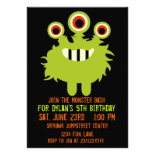 Green Orange Monster Birthday Party Invitations