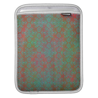Green Orange Multicolored Abstract Damask Sleeve For iPads