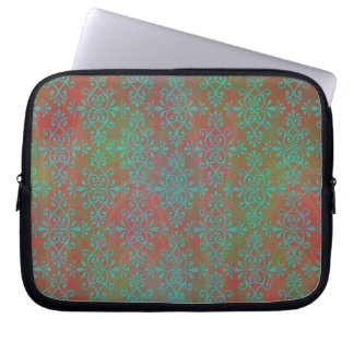Green Orange Multicolored Abstract Damask Laptop Sleeve